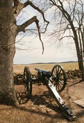 cannon and stone wall from Seminary Ridge