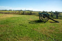 Cannon at fence at Gettysburg Battlefield