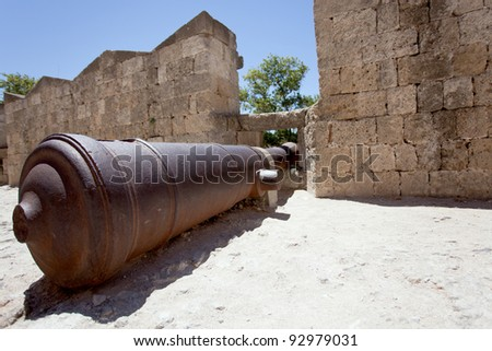 Cannon at the Grand Master Palace in Rhodes town, Greece.