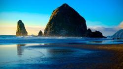 Cannon Beach Sunset.  Oregon Coast USA.  Travel and Vacation Photograph.