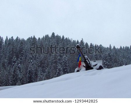 Cannon covered in snow with forest behind on a winter cold day in Romania, Toplita city