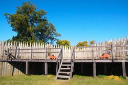 cannon firing positions and fort wall