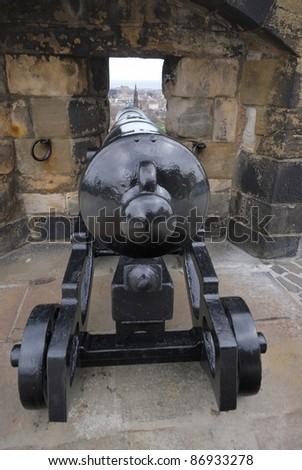 Cannon hidden in the wall - Edinburgh Castle, Scotland, UK