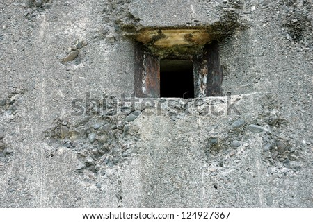 cannon holes on Dutch army military defense bunker during the second world war in the town of Tarakan, Indonesia