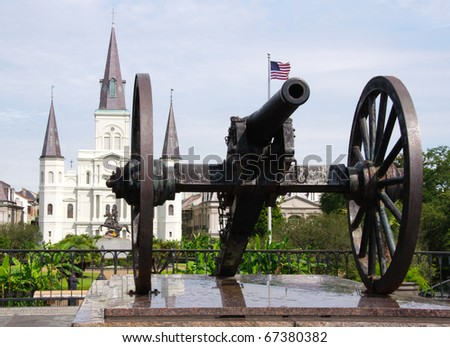 Cannon, Jackson Square and Saint Louis Cathedral