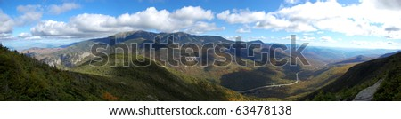 Cannon Mountain top panorama in White Mountain area, New Hampshire, New England, USA