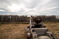 Cannon pointed out to the sea, Bulnes Fort, Punta Arenas, Chile