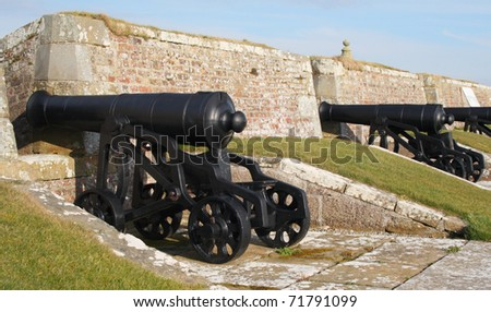 Cannon. Row of 18th Century cannon at the Historic Military fortress Fort George in the Highlands of Scotland