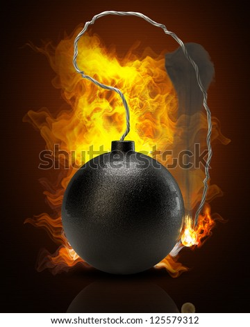 Cannonball bomb in Fire high resolution 3d illustration