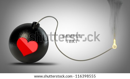 Cannonball bomb with red heart symbol  High resolution 3D