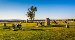 Cannons and monuments in Gettysburg, Pennsylvania.