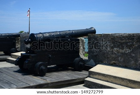 cannons at Castillo de San Marcos fort in St. Augustine, Florida