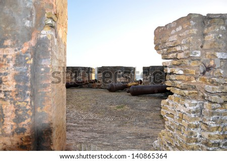 Cannons at Fort Beekenburg, Caracas Bay, Curacao, Netherlands Antilles, West Indies, Central America. The fort was built in 1703 and has been used to fight off pirates, the French and the English.