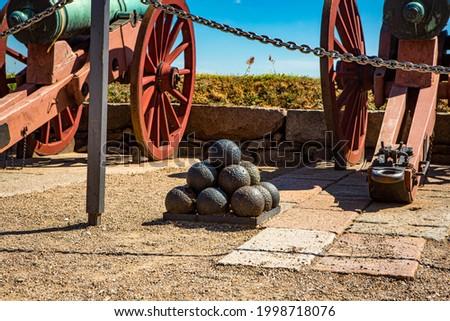Cannons at Kronborg castle in Elsinore, Denmark. Сток-фото ©