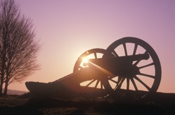 Cannons at the Revolutionary War National Park at sunrise, Valley Forge, PA