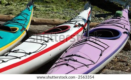 canoe at Vancouver beach - stock photo