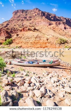 Canoe on the riverbank, Colorado Riverway Recreation Area, Utah, USA #1178298538