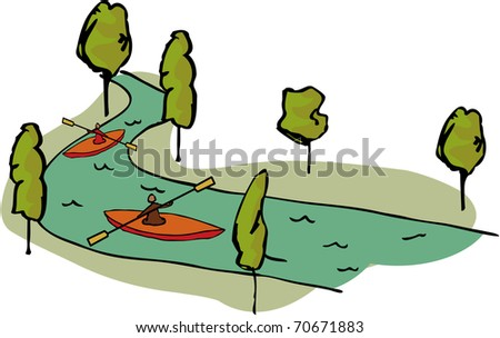 Canoe on water - stock photo