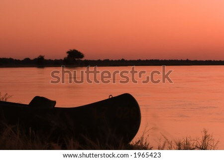 Canoe on zambezi river zambia