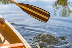 Canoe paddle water drip river fall summer autumn refelction