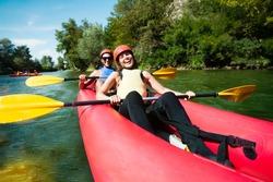 Canoe rafting team of two