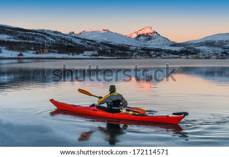 canoe  sunrise. tromso
