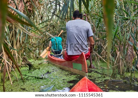 Canoeing in a wild overgrown passage in the reed