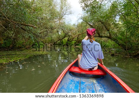 Canoeing in pristine natural environment, Lake Tisza, Hungary