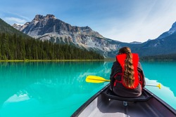 Canoeing on Emerald Lake in summer at the Yoho National Park alberta canada