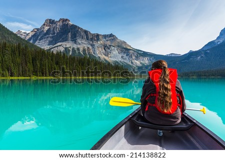 Canoeing on Emerald Lake in summer at the Yoho National Park alberta canada #214138822