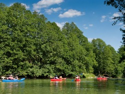 Canoeing on the river Wda in Tuchola Pinewoods. Pomeranian region.