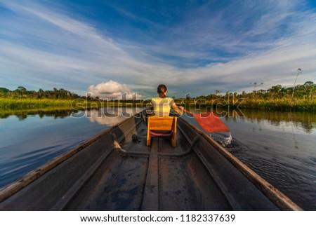 Canoeing, Rio Napo Riverside, Yasuni National Park, Ecuador, South America Stock fotó ©