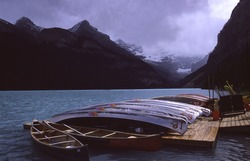 canoes at Lake Louise Alberta