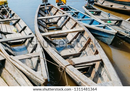 Canoes moored in the amazon river