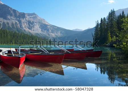 Canoes on Emerald Lake waiting to be rented.