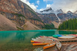 Canoes on Moraine Lake .Banff National Park. Canadian Rocky Montains. Alberta. Canada