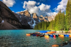 Canoes on Moraine lake, Banff national park in the Rocky Mountains, Alberta, Canada.
