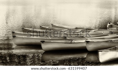 canoes on water in sepia
