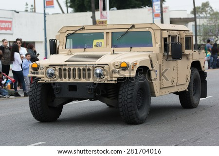 Canoga Park, CA, USA - May 25, 2015: HMMWV Military vehicle during Memorial Day Parade