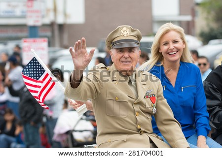 Canoga Park, CA, USA - May 25, 2015: US veterans during Memorial Day Parade