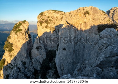 Canolo, district of Reggio Calabria, Calabria, Aspromonte, Italy, Europe, view of Mount Mutolo with rock formation called the Towers of Canolo #1439758046