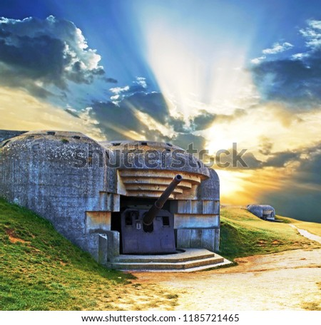 Canon in a blockhouse in Normandy, remains of the war. France.