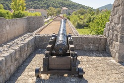 Canon on bunker fortress of Wall of Ston in Ston in Ragusa in Croatia summer