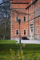 Canons in front of the medieval castle of Svenstorp in  Sweden