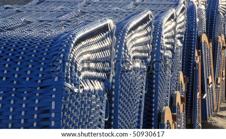Canopied beach chairs - close-up view