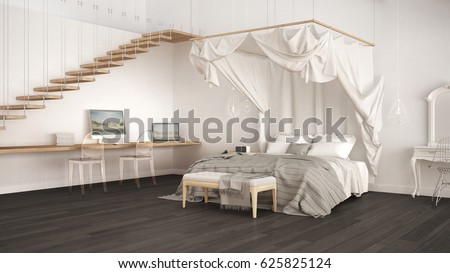 Canopy Bed In Minimalistic White Bedroom With Home Workplace, Scandinavian  Classic Interior Design, 3d Illustration | EZ Canvas