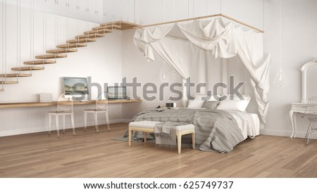 Canopy Bed In Minimalistic White Bedroom With Home Workplace, Scandinavian Classic  Interior Design, 3d