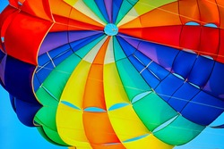 Canopy of a multicolor parachute in air.