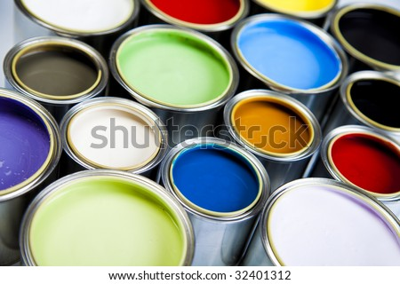 Cans and paint on the colorful