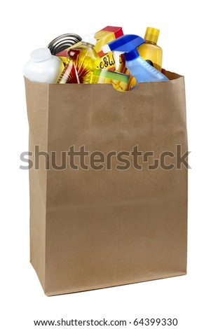 cans, bottles and boxes shot in brown paper grocery bag, silhouetted on white background